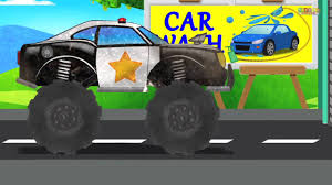 police monster truck car wash video kids u0026 toddlers