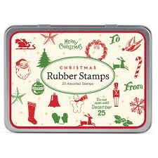 cavallini christmas mini rubber stamp set x 20 candy cane stocking