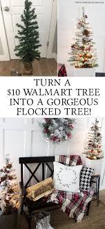 turn a 10 walmart tree into a flocked tree rustic