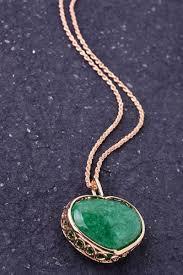 green heart necklace images Green heart gold long chain pendant jpg