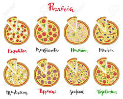 margarita illustration vector set of hand drawn pizza popular varieties margarita