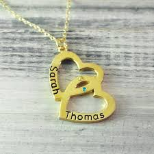 custom heart necklace gold color two name pendant necklace custom bithstone heart