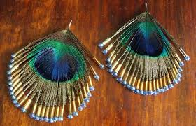peacock feather earrings simple craft ideas