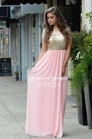 blush pink gold sequin maxi dress beautiful modest bridesmaids