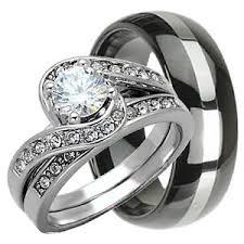 Tungsten Wedding Rings by His U0026 Hers 3 Pcs Womens Sterling Silver U0026 Mens Tungsten Wedding