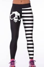 white stripe skull digital print elastic sports yoga pants