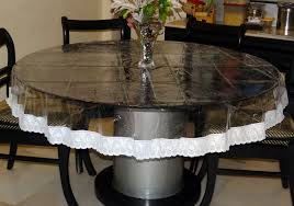Dining Room Table Cover 60 U201d Round Clear Transparent With Lace Border Table Cover