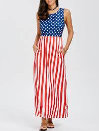 Flag Dress Sleeveless Patriotic American Flag Print Maxi Dress In Us Flag Xl