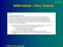 Sans Policy Templates by It Security Policy Study March 2008 Copyright All Rights