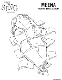 sing movie coloring pages elephant meena coloring pages printable