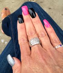 pink black silver gel nails black nail designs pinterest