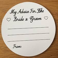 my advice for the and groom cards wedding advice coasters and groom advice black text on white
