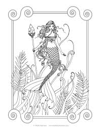 free mermaid coloring page by molly harrison fantasy art