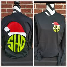 monogrammed christmas monogrammed polka dot santa hat sleeved shirt christmas