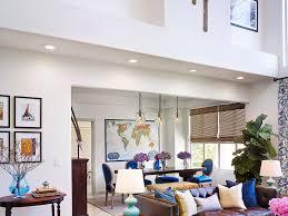 Modern Oak Living Room Furniture Striped Rug Wood Beam Ceiling Beams Brown Living Room Furniture