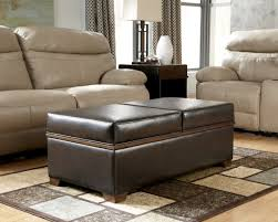Upholstered Ottoman Coffee Table Living Room Rectangle Dark Brown Leather Upholstered Ottoman