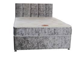 Crushed Velvet Bed Silver Crushed Velvet Divan Bed Set Including Luxurious Memory