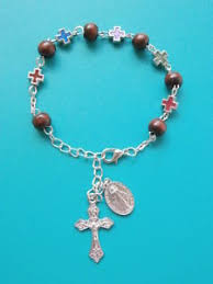 rosary bead bracelet wood wooden silver cross rosary bead bracelet 18 23cm catholic gifts