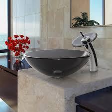 black vessel sink faucet vigo sheer black glass vessel sink and waterfall faucet set in
