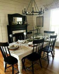 farmhouse table with metal chairs from homespun signs the