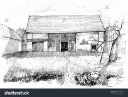 sketch old barn scan pencil drawing stock illustration 133480973