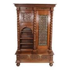oak bookcases with glass doors antique scottish leaded glass tiger oak two door barley twist