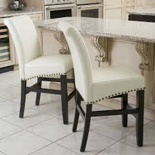 White Leather Dining Room Chair by Leather Backless Counter Stool Smooth Hazelnut Bonded Leather