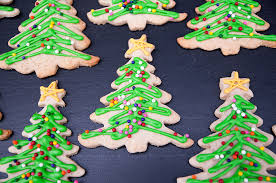 christmas tree cookies with sprinkles on top