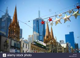 christmas decorations in melbourne victoria australia stock