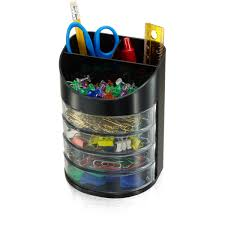 Eldon Desk Accessories by Officemate 7 Compartment Supply Organizer Black And Clear