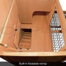 Rabbit Hutch Ramp Hutch Cage Indoor Outdoor 2 Story Rabbit Guinea Pig Chicken