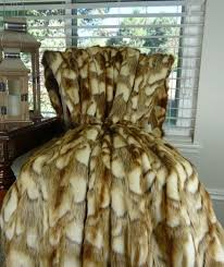 Faux Fur Blanket Queen Gold Faux Fur Throw Blanket And Bedspread Brandy Fox Fur