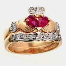 claddagh engagement ring yellow gold ruby diamond claddagh engagement ring wedding ring
