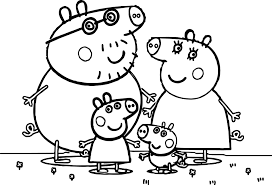 peppa pig family coloring page wecoloringpage
