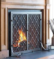 amazon com large steel geometric fireplace screen with doors