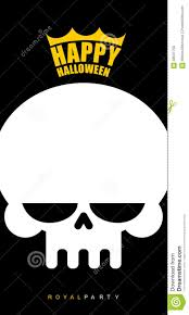 halloween logo black background invitational poster for halloween white skull in a golden crown