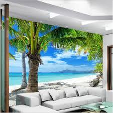 3d mural diy 3d wall mural painting beach coconut wallpaper gallaryart