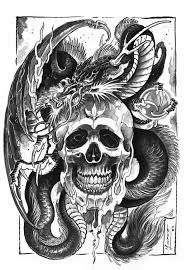blue dragon and skull tattoo design photo 2 2017 real photo