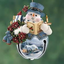 kinkade snow bell holidays snowman ornaments