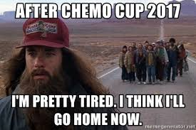 Chemo Meme - after chemo cup 2017 i m pretty tired i think i ll go home now