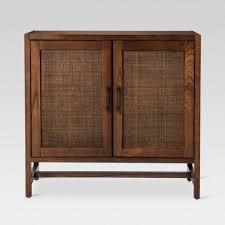 2 door cabinet with center shelves warwick 2 door wood rattan accent cabinet threshold small