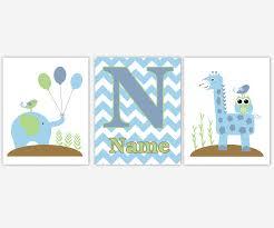 Giraffe Nursery Decor Baby Boys Canvas Nursery Wall Aqua Blue Brown Green Gray Grey