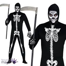 Skeleton Suit Halloween by New Adults Mens Skeleton Jumpsuit Skin Suit Halloween Horror Fancy