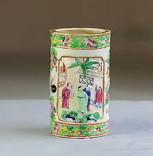 mandarin porcelain export mandarin porcelain brush pot 19c item 1165887