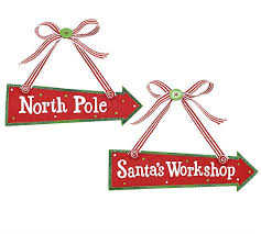 wood pole and santa s workshop ornaments