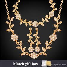 bracelet earring jewelry necklace images U7 luxury leaf clear austrian rhinestone necklace bracelets jpg