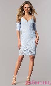 blue short dresses cold shoulder ice blue lace party dress prom