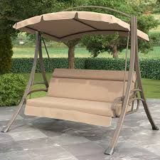 Outdoor Canopy Chair 3 Person Outdoor Porch Swing With Canopy In Beige Tan Brown