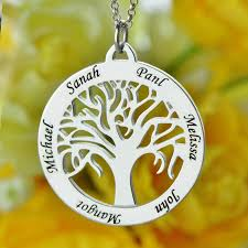 personalized name necklace sterling silver personalized family tree necklace engraved circle name necklace