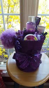 spa gift basket ideas purple gift basket ideas spa gift basket with purple ribbon decor
